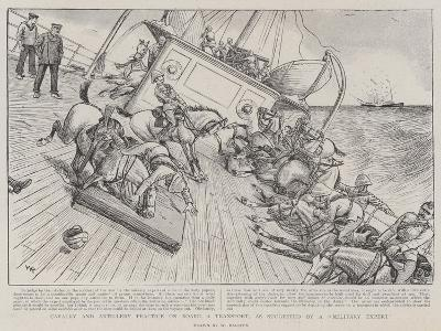 Cavalry and Artillery Practice on Board a Transport, as Suggested by a Military Expert-William Ralston-Giclee Print