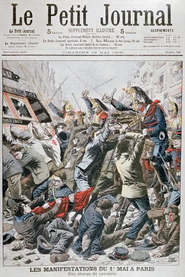 Cavalry Charge During the Demonstration for the 1st May in Paris, 1906--Giclee Print