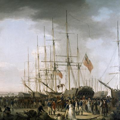 Cavalry Embarking at Blackwall, Near Greenwich, April 24, 1793-William Anderson-Giclee Print
