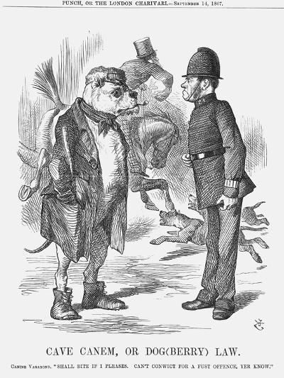 Cave Canem, or Dog (Berr) Law, 1867-John Tenniel-Giclee Print