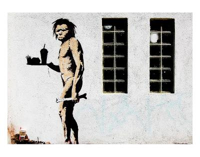 Cave Man Fast Food-Banksy-Art Print