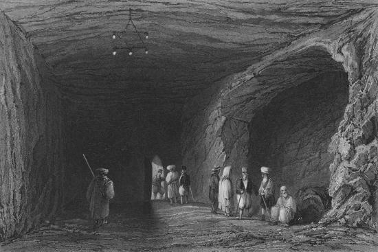 Cave of the School of the Prophets, in Mount Carmel-William Henry Bartlett-Giclee Print