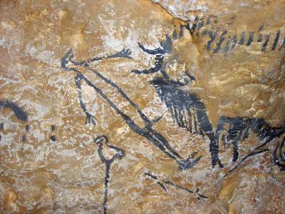 Cave Painting of Bird-Headed Man at Lascaux--Photographic Print
