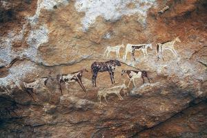 Cave Paintings Depicting Cattle, Prehistoric Caves on Gilf Kebir Plateau