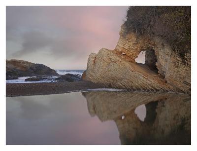 Cave reflected in pool at dusk, Spooners Cove, Montano de Oro State Park, California-Tim Fitzharris-Art Print