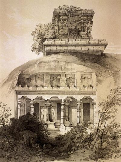 Cave with Structural Vimana, Mahavellipore-John Weale-Giclee Print