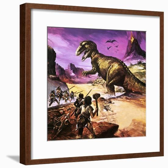 Cavemen, Dinosaur and Volcano - for an Article About Special Effects-Gerry Wood-Framed Premium Giclee Print