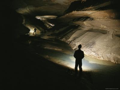 Cavers Stand in the New Discover Section of Meringo Cave-Stephen Alvarez-Photographic Print