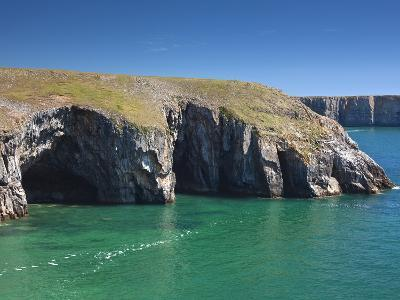 Caves at Raming Hole, Looking Towards Stackpole Head, Pembrokeshire, Wales, United Kingdom, Europe-David Clapp-Photographic Print