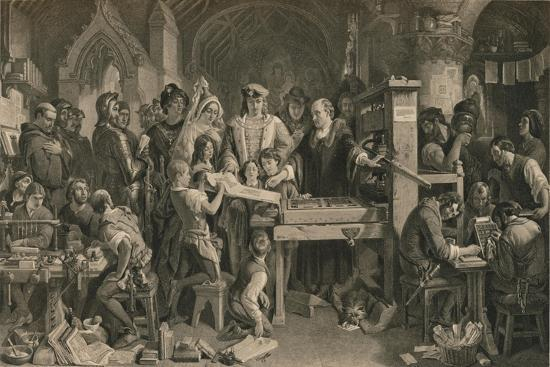 Caxton showing the first specimen of his printing to King Edward IV at Westminster, c1477-Unknown-Giclee Print
