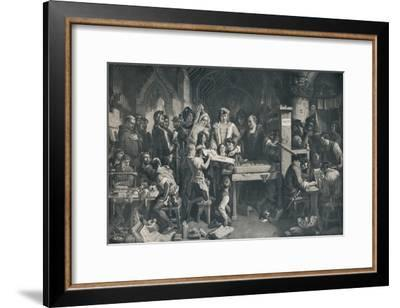 'Caxton Showing the First Specimen of his Printing to King Edward IV', c1858, (1911)-Daniel Maclise-Framed Giclee Print