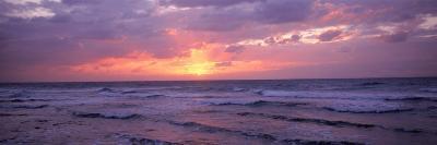 Cayman Islands, Grand Cayman, 7 Mile Beach, Caribbean Sea, Sunset over Waves--Photographic Print