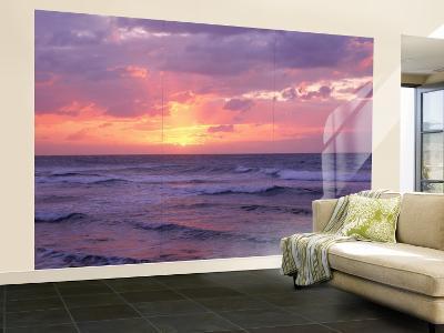 Cayman Islands, Grand Cayman, 7 Mile Beach, Caribbean Sea, Sunset over Waves--Wall Mural – Large