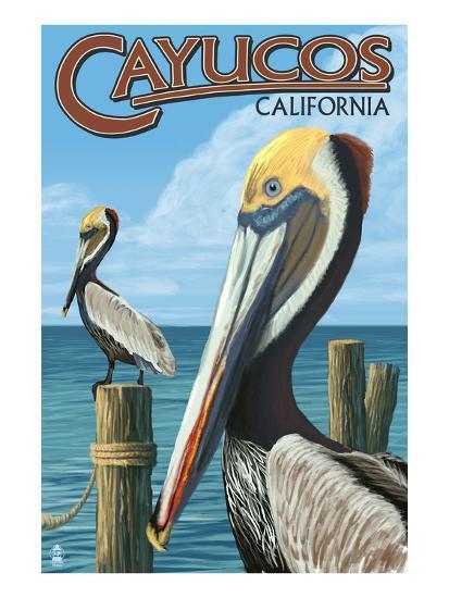 Cayucos, California - Pelicans-Lantern Press-Art Print