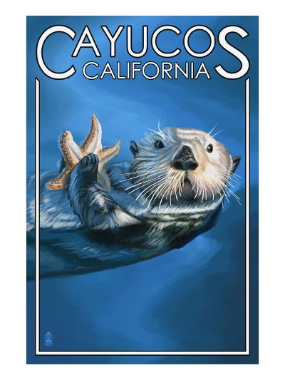 Cayucos, California - Sea Otter-Lantern Press-Art Print