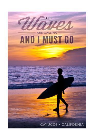 Cayucos, California - the Waves are Calling - Surfer and Sunset-Lantern Press-Art Print