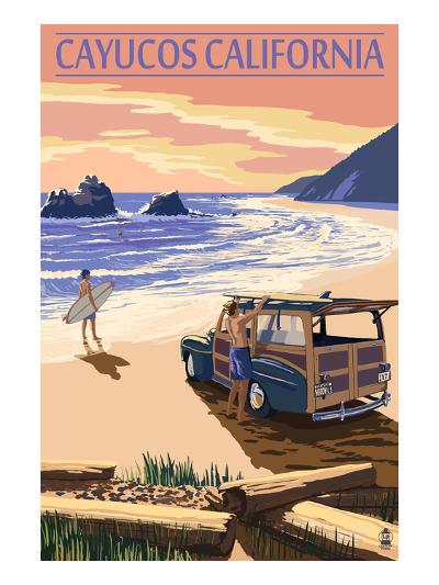 Cayucos, California - Woody on Beach-Lantern Press-Art Print