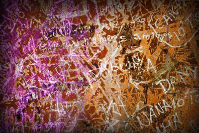 Colorful Grunge Background With Graffiti And Writings And A Slight Vignette
