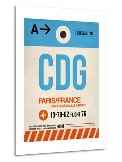 CDG Paris Luggage Tag 2-NaxArt-Metal Print