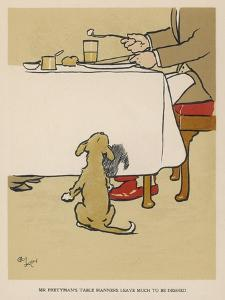 Dog Waits Expectantly by the Table as His Master Eats by Cecil Aldin