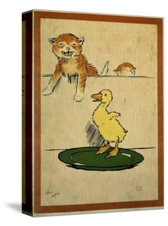 Playful English Illustration of Cats and Duck by Cecil Aldin, Ca. 1910.