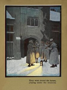 They Went Round the House Playing Under the Windows - Carol Singers in the Snow by Cecil Aldin