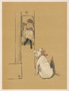 White Bulldog Guards His Master's Friend Pammy While She Changes Her Clothes by Cecil Aldin