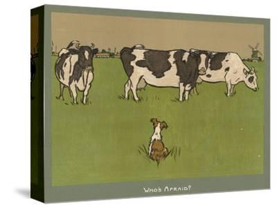 Who's Afraid, a Perky Little Dog Keeps an Eye on Three Cows