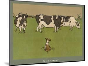 Who's Afraid, a Perky Little Dog Keeps an Eye on Three Cows by Cecil Aldin