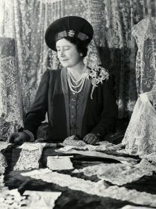 Her Majesty Queen Elizabeth the Queen Mother Looking at Lace by Cecil Beaton