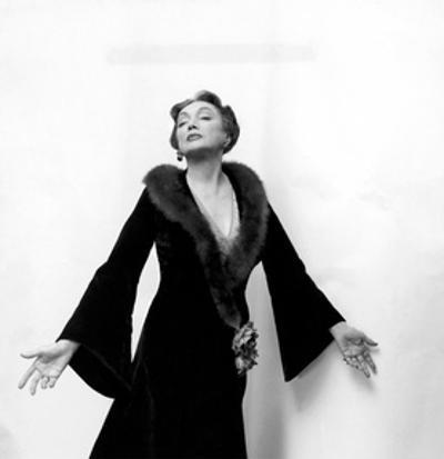 Katharine Cornell, Actress, Wearing Black Gown with Fur Collar Designed by Cecil Beaton