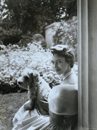 Portrait of the Late Princess Margaret with Her Dog
