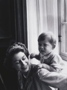 Queen Elizabeth and Prince Charles at Buckingham Palace, London, England by Cecil Beaton
