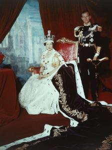 Queen Elizabeth II in Coronation Robes with the Duke of Edinburgh, England by Cecil Beaton