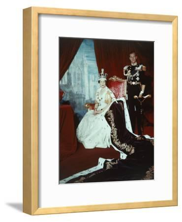 Queen Elizabeth II in Coronation Robes with the Duke of Edinburgh, England