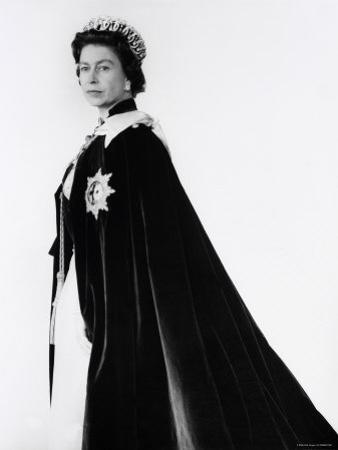 Queen Elizabeth II in Robes and Wearing the Order of the Garter, England