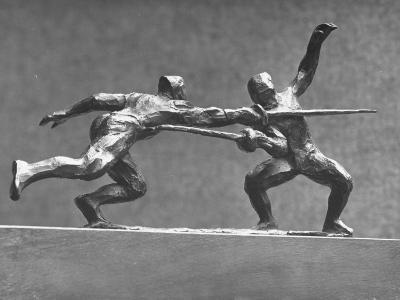 Cecil Howard's Sculpture of Two Men Fencing-Andreas Feininger-Premium Photographic Print