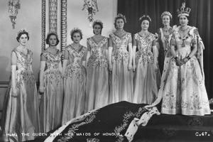 HM Queen Elizabeth II with Her Maids of Honour, the Coronation, 2nd June 1953 by Cecil Walter Hardy Beaton