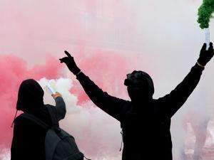 Two Protesters after A Soccer Match with the Smoke by CedarchisCociredeF