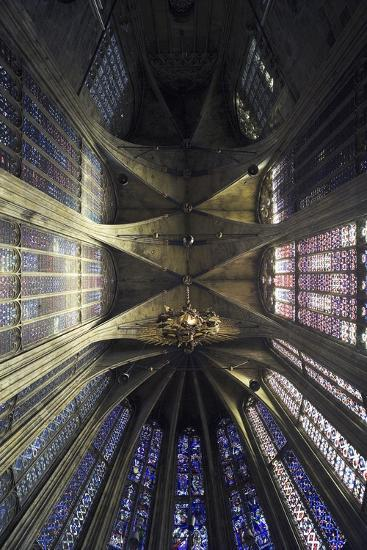 Ceiling and Stained Glass, Aachen Cathedral--Photographic Print