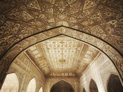 Ceiling of Khas Mahal in Agra Fort, Agra, Uttar Pradesh, India-Ian Trower-Photographic Print