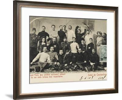 Celebrated Fencer Essad Vichy Bey Surrounded by His Intimate Friends--Framed Photographic Print