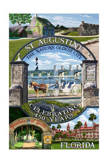 Celebrating 450 Years - St. Augustine, Florida - Montage Scenes-Lantern Press-Art Print