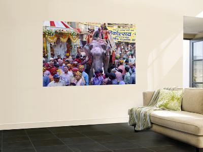 Celebration of Holi Festival, Mathura, Uttar Pradesh, India-Peter Adams-Wall Mural
