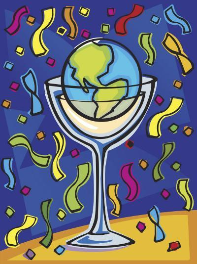 Celebration with Confetti and World Globe in Alcohol Glass--Photo