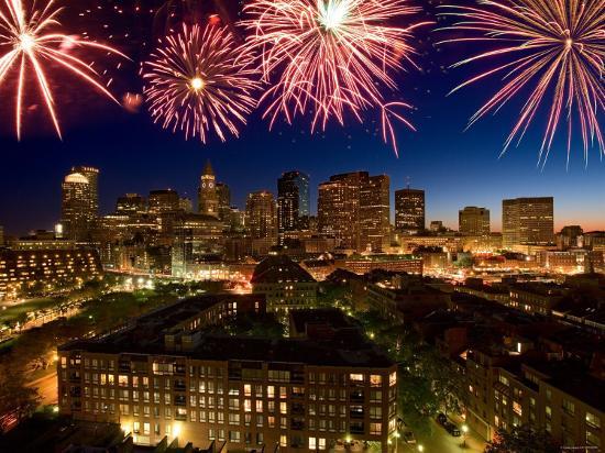 Celebration with Exploding Fireworks over Skyline of Boston, Massachusetts--Photographic Print