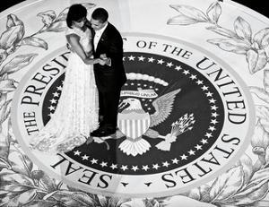 President Obama and The First Lady (b/w) by Celebrity Photography