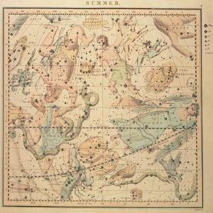 Celestial Chart: Summer, Showing Signs of Zodiac, Positions of Stars and Astrological Instruments
