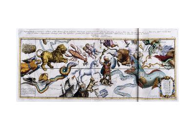 Celestial Map of the Constellations: Orion, Taurus, Aries, Pisces Etc, 1666-1668--Giclee Print