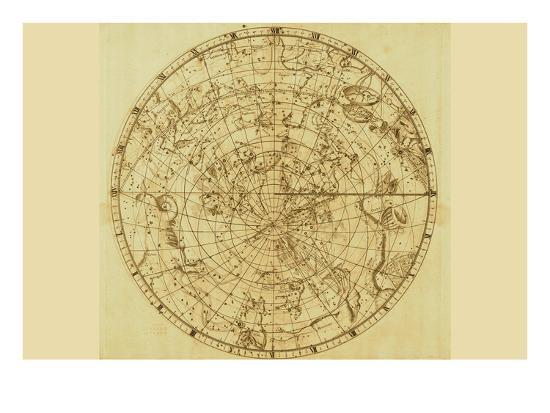 Celestial Map of the Mythological Heavens with Zodiacal Characters-Sir John Flamsteed-Art Print